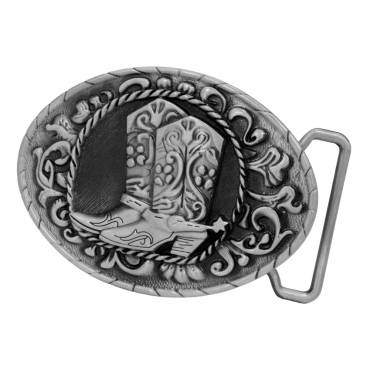 MS-105-3 Pewter Cowboy Boots Belt Buckle