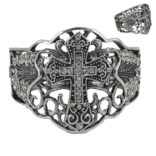 SS1120-13062603-5 Rhinestone Straight Cross Bangle Bracelet