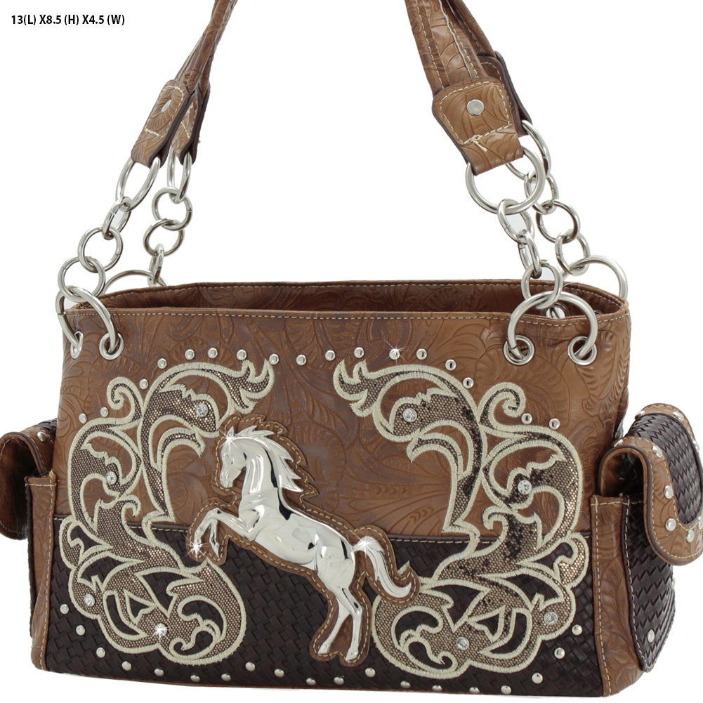 WESTERN RHINESTONE HANDBAG PURSE BROWN