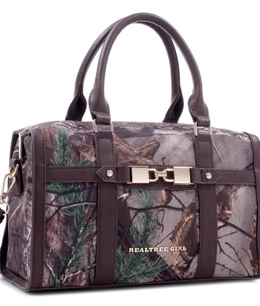 HPDC-RG1-511039-2550 Realtree Girl  Barrel Satchel Handbag with Detachable Strap – Coffee