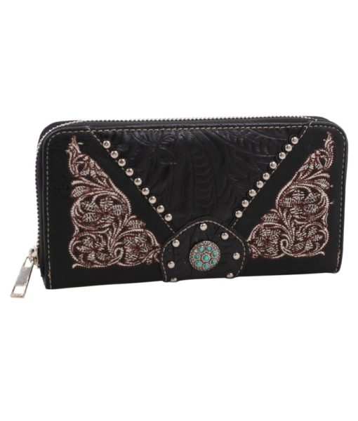 Black Concho Western Wallet with Turquoise and Embroidery Accents