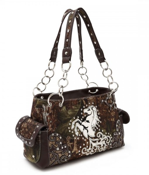 Camo Print Horse Handbag with Chain Strap and Stud Accents