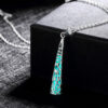 Silver-Plated Luminous Spike Necklace Aqua Glow Al162