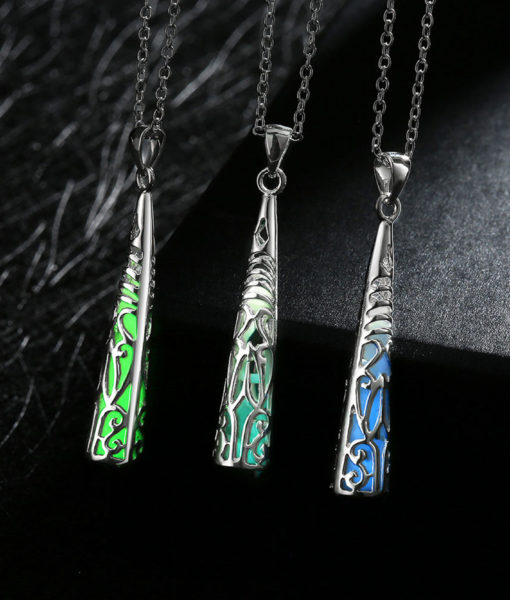 Silver-Plated Luminous Spike Necklace Glow Al162