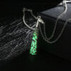 Silver-Plated Luminous Spike Necklace Green Glow Al162