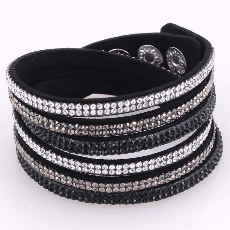 Triple Wrap Rhinestone Boot Jewelry Black – Al250