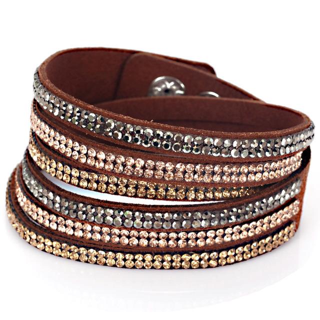 Triple Wrap Rhinestone Boot Jewelry Brown Al250