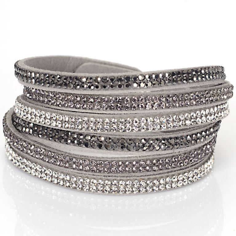 Triple Wrap Rhinestone Boot Jewelry Grey Al250